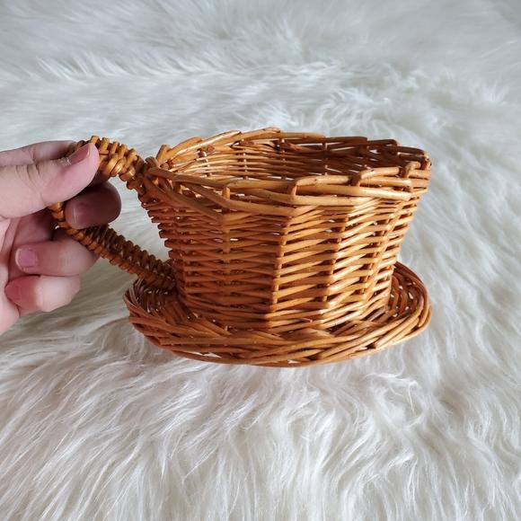 Vintage Wicker Woven Teacup Plant Holder Basket